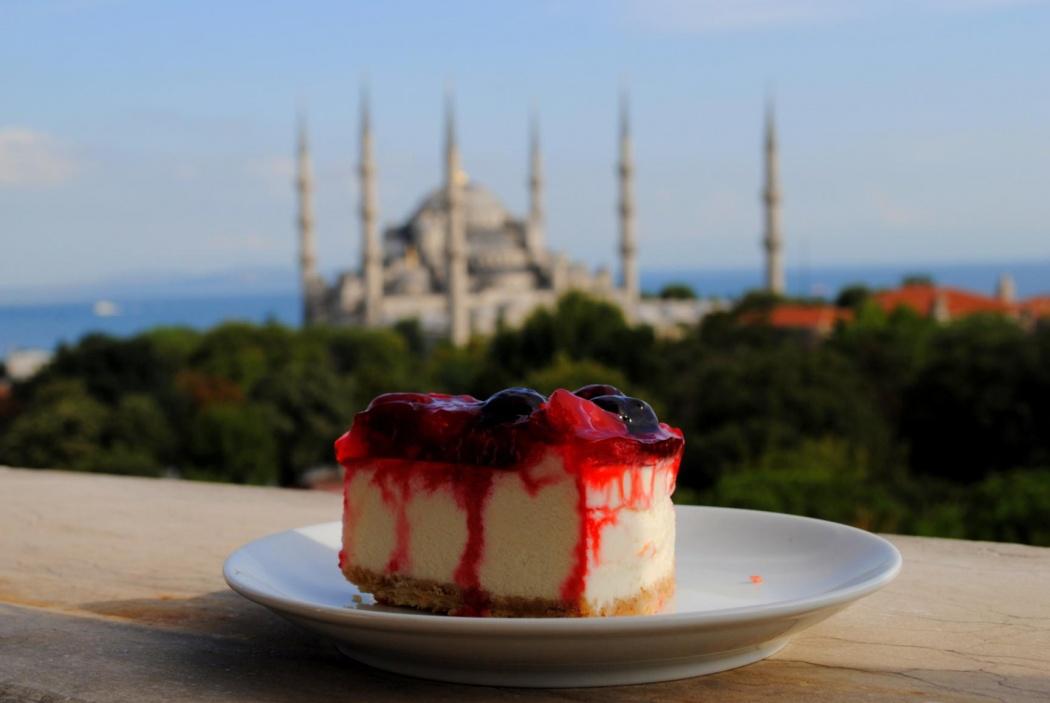 Mezquita Azul desde Cafe Central. Verano 2014