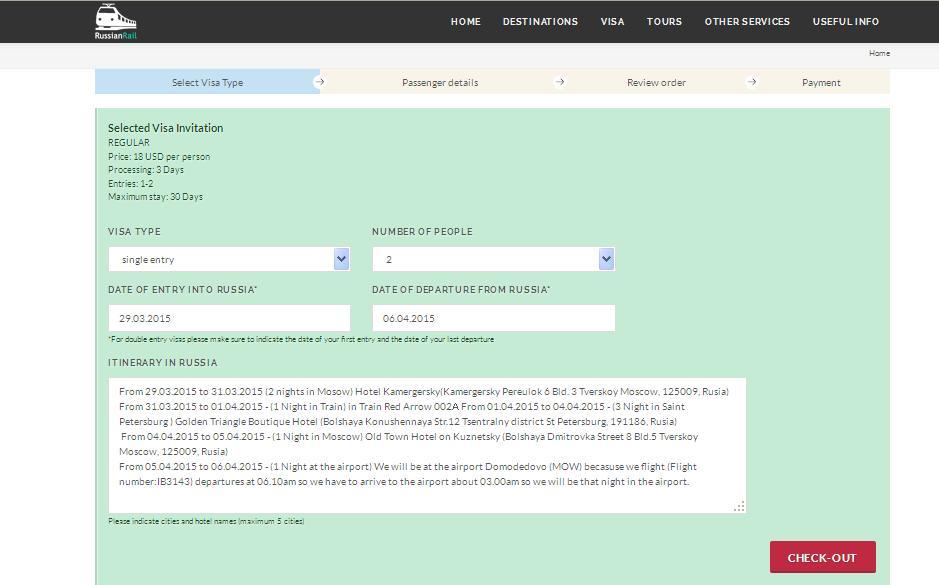 visa support rusia solicitud