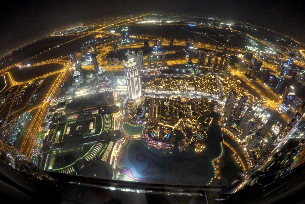 Vistas desde el piso 125 de Burj Khalifa, At the Top. Dubai, 2015