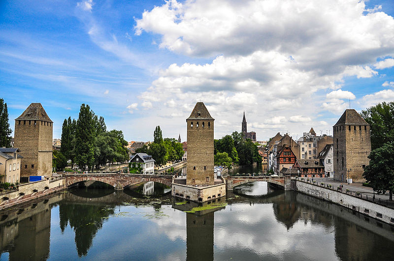 Strasbourg,_France,_Ponts_Couverts_seen_from_Barrage_Vauban